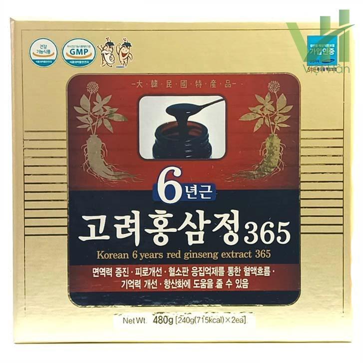 Mặt trước sản phẩm cao hồng sâm 365 Hàn Quốc - Hộp 240g x 2 lọ
