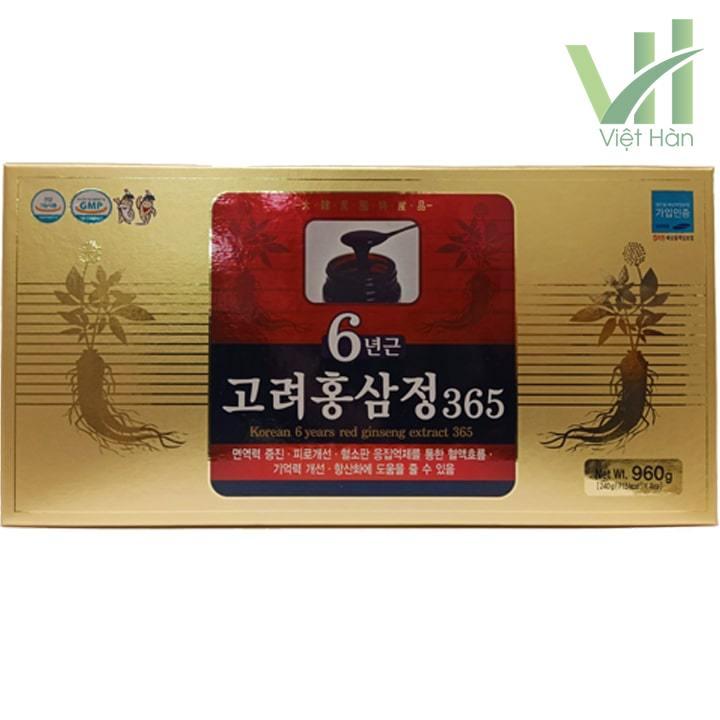 Mặt trước sản phẩm cao hồng sâm 365 Hàn Quốc - Hộp 240g x 4 lọ
