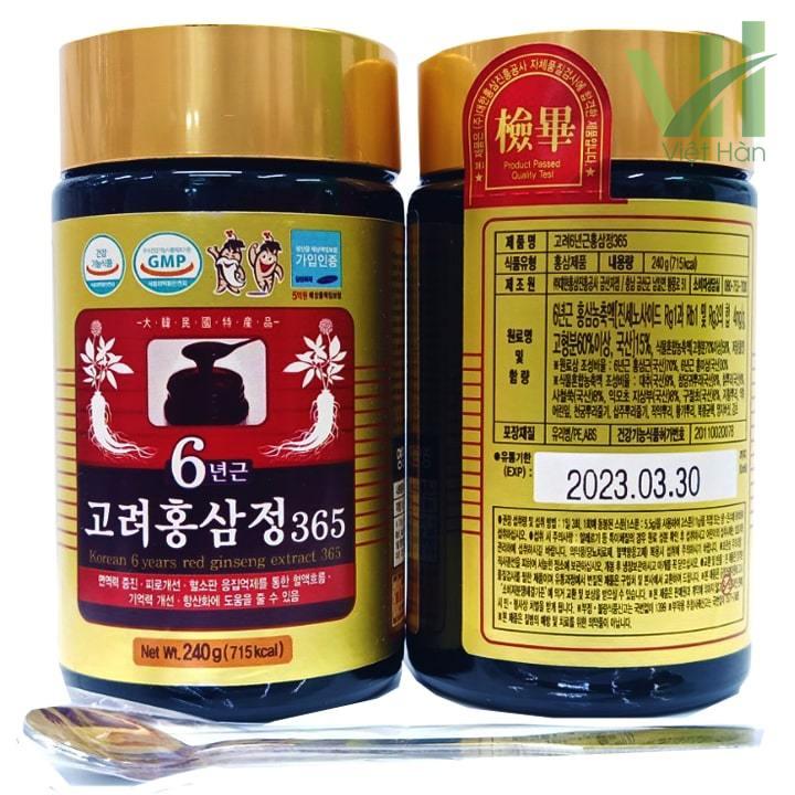 Góc sản phẩm cao hồng sâm 365 Hàn Quốc - Hộp 240g x 4 lọ