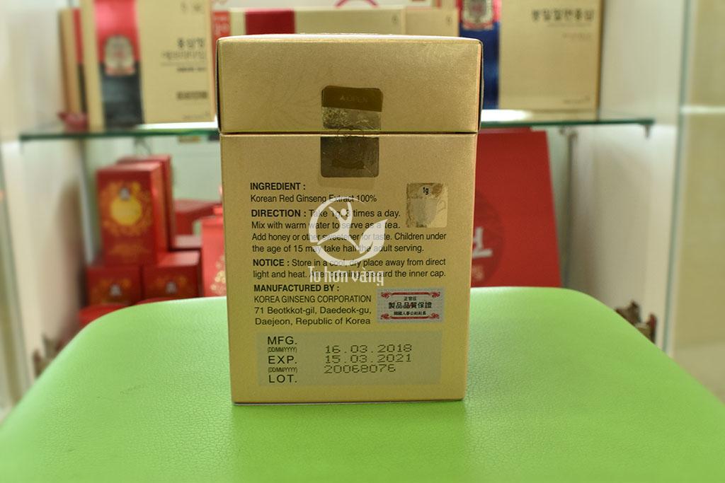 Hình ảnh mặt sau của sản phẩm cao hồng sâm chính phủ 240 gram
