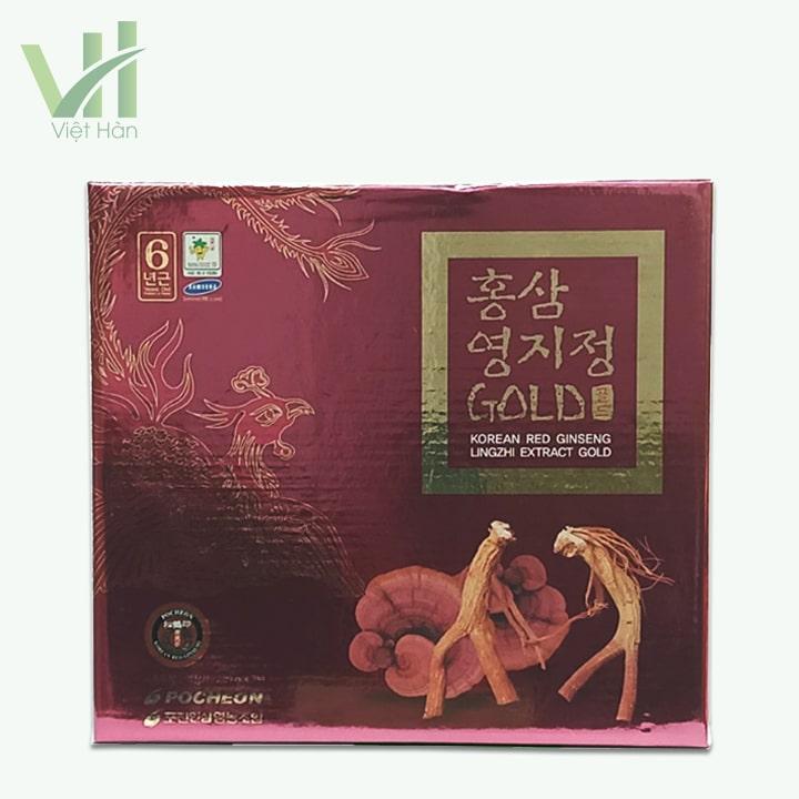 Mặt trước hộp sản phẩm cao hồng sâm linh chi Hàn Quốc 240g x 2 lọ