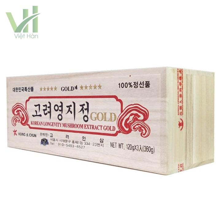 Góc sản phẩm cao linh chi thượng hạng Hàn Quốc - Đóng hộp gỗ 360g (120g x 3 lọ)