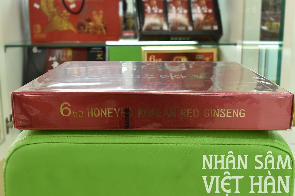 Hình ảnh bên góc hộp hồng sâm củ tẩm mật ong KGS 300g Hàn Quốc 6 năm tuổi