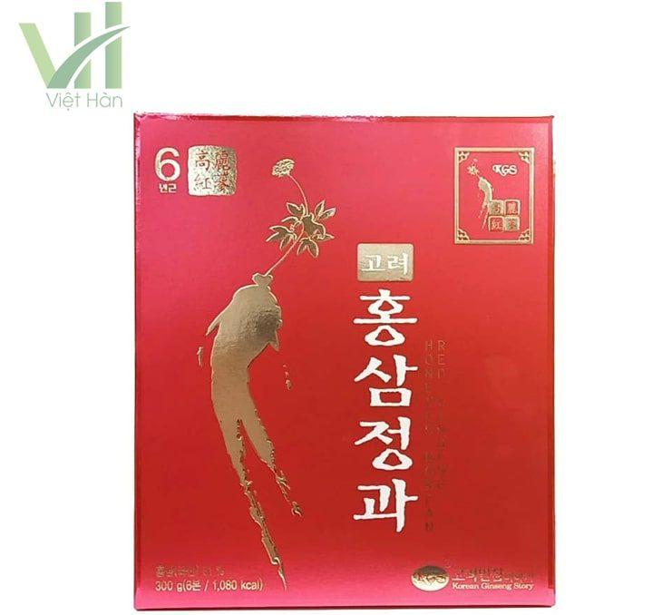 <em>Mặt trước sản phẩm hồng sâm củ tẩm mật ong KGS 300g Hàn Quốc 6 năm tuổi</em>