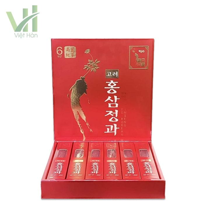 <em>Bên trong sản phẩm hồng sâm củ tẩm mật ong KGS 300g Hàn Quốc 6 năm tuổi</em>