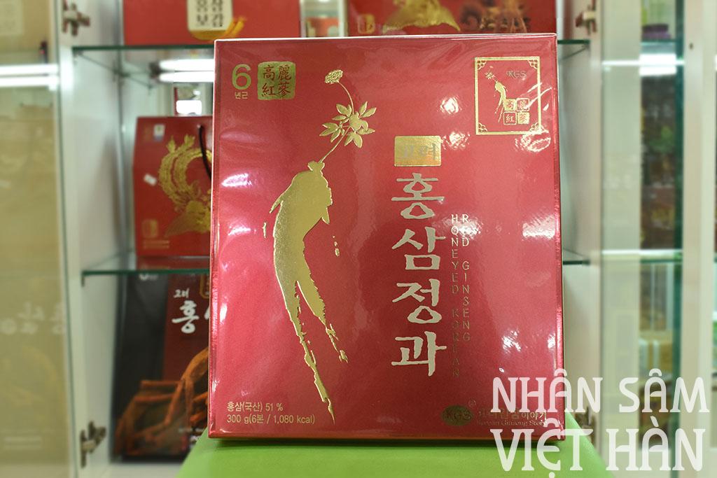 Hình ảnh hộp hồng sâm củ tẩm mật ong KGS 300g Hàn Quốc 6 năm tuổi