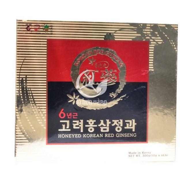Hình ảnh hộp Hồng Sâm Củ Tẩm Mật Ong Sambok 300g x 6 củ Hàn Quốc