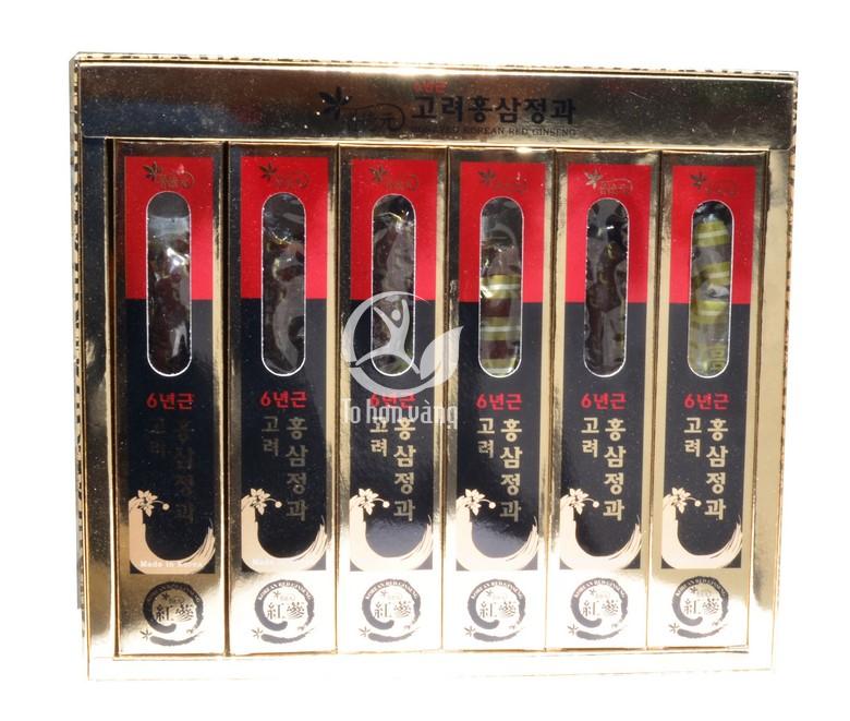 Hình ảnh bên trong hộp Hồng Sâm Củ Tẩm Mật Ong Sambok 300g x 6 củ Hàn Quốc
