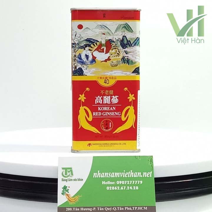 Mặt sau sản phẩm hồng sâm khô Deadong Hàn Quốc 37.5 gram