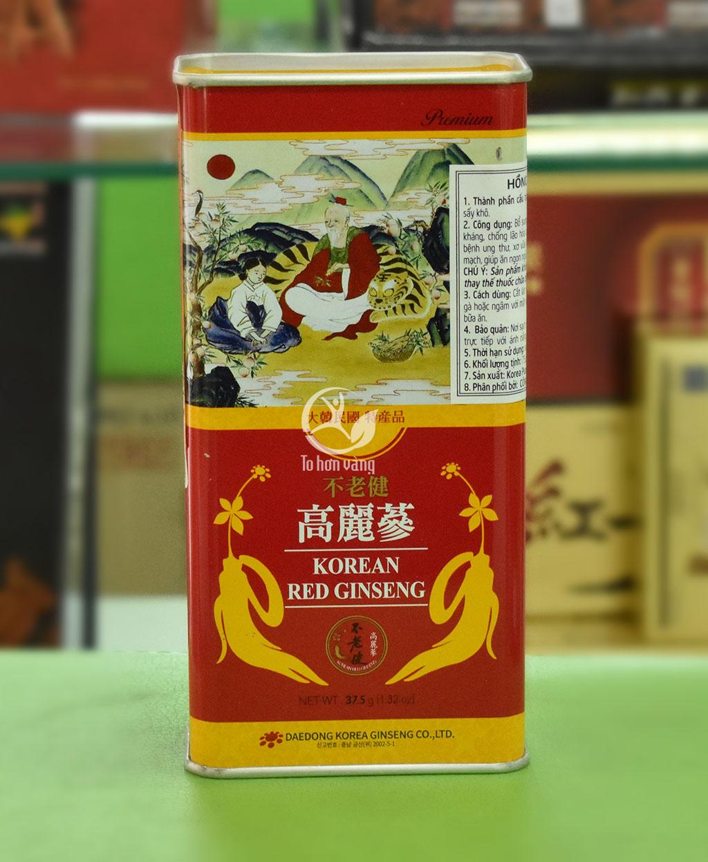 Hình ảnh mặt sau Hồng Sâm Khô Deadong Hàn Quốc 37.5 gram