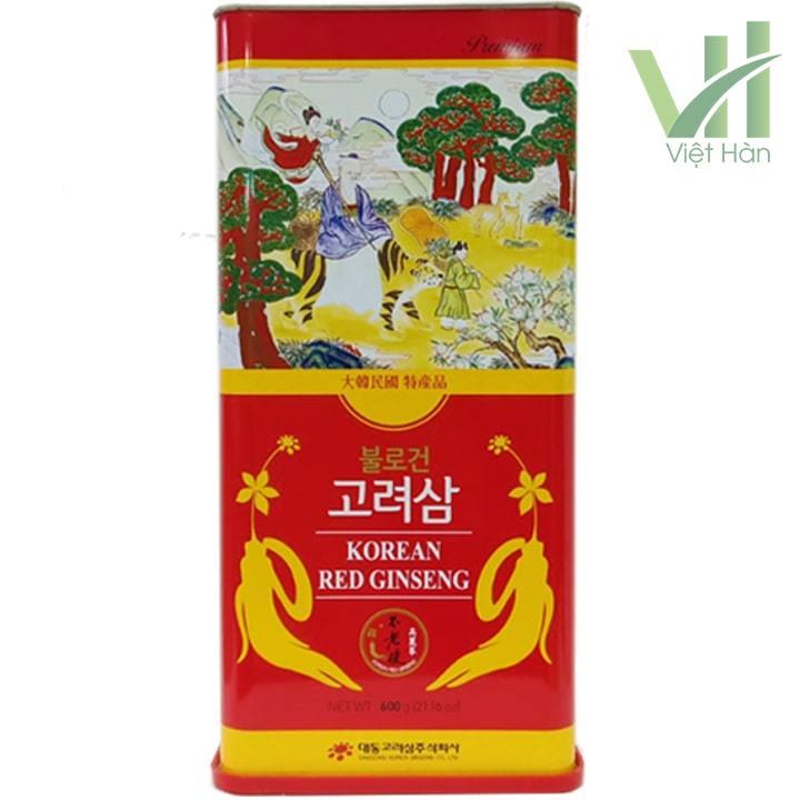 Mặt trước sản phẩm hồng sâm khô Hàn Quốc Deadong 600g
