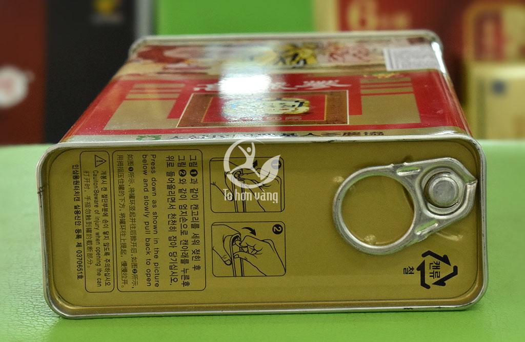 Hình ảnh phía dưới mở hộp hồng sâm củ khô punghi 150 gram