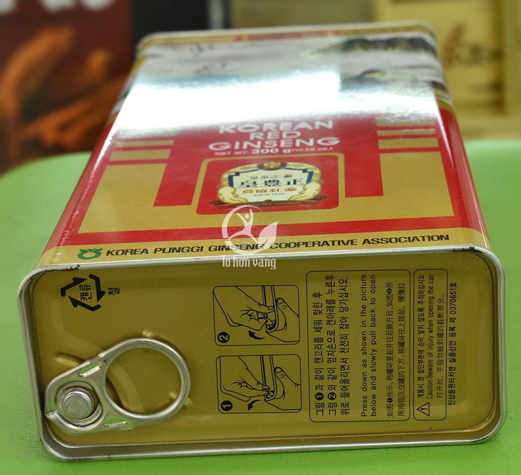Hình ảnh nắp mở hộp hồng sâm khô Hàn Quốc 300 gram Punghi