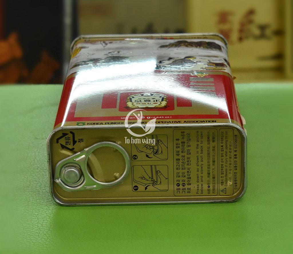 Hình ảnh bên nắp dưới hướng dẫn mở hộp hồng sâm khô 75 gram
