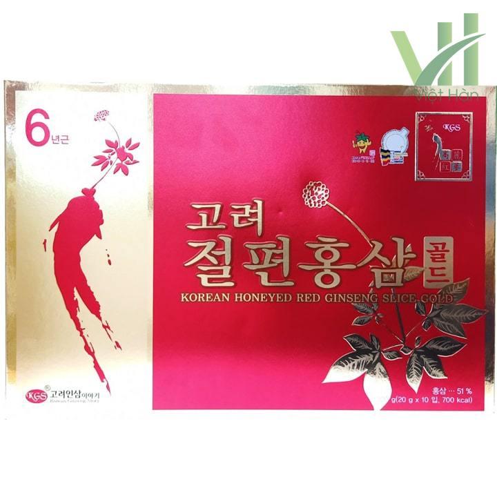 Mặt trước sản phẩm hồng sâm lát tẩm mật ong - KGS 200 gram 6 năm tuổi nguyên nhất