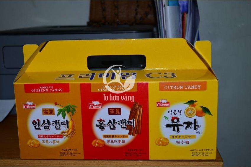Hình ảnh hộp 3 hủ Kẹo Cao Cấp 600g Hàn Quốc