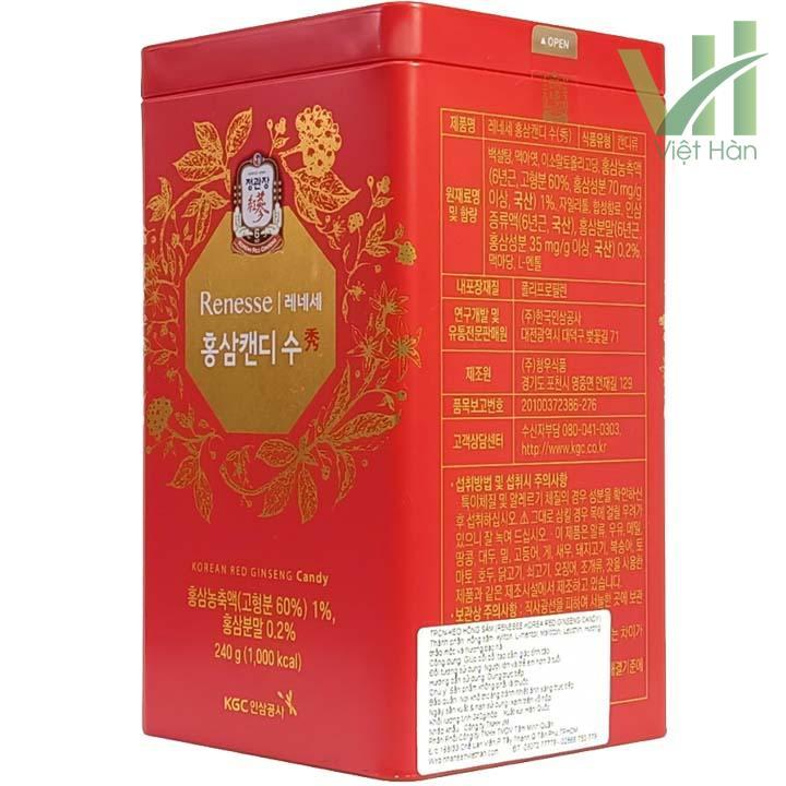Góc sản phẩm kẹo hồng sâm Hàn Quốc cao cấp KGC 240g