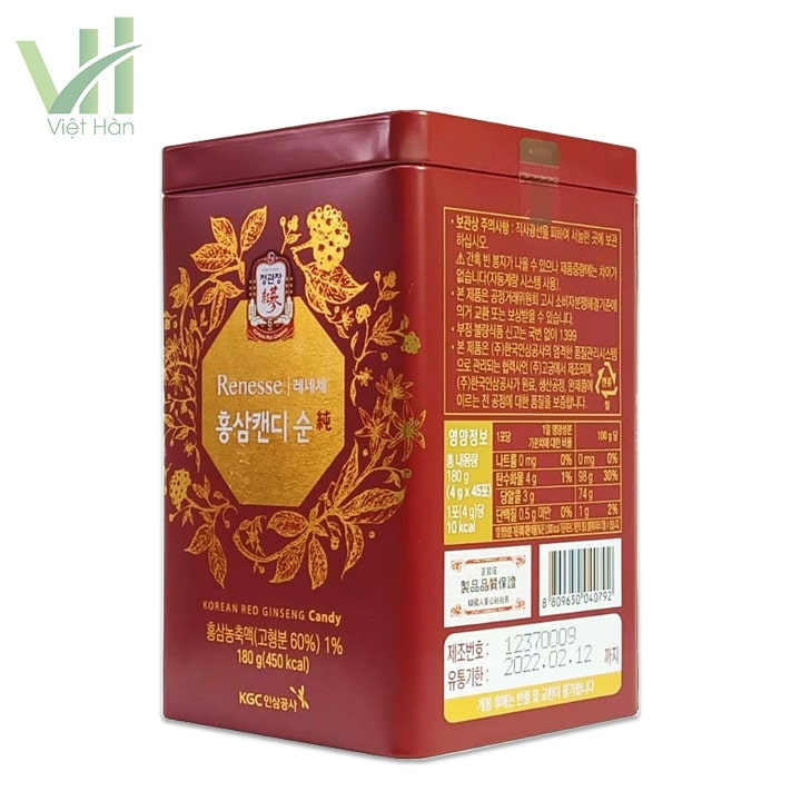Sản phẩm kẹo hồng sâm không đường cao cấp Hàn Quốc KGC 180g