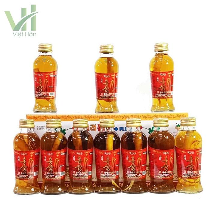 Sản phẩm nước hồng sâm có củ KGS - hộp 10 chai