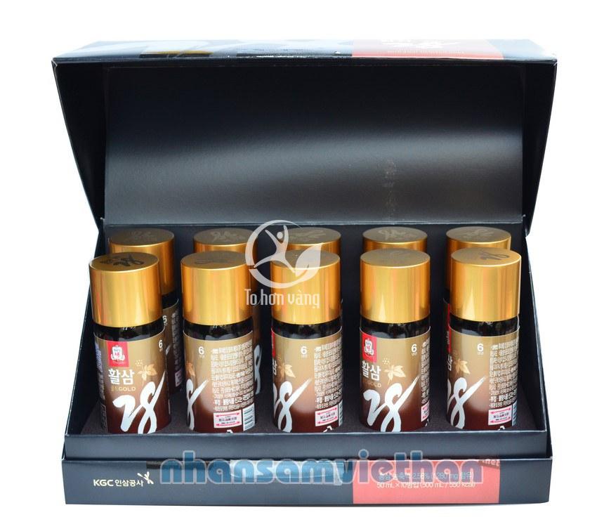 Hình ảnh bên trong hộp nước hồng sâm Cheong Kwan Jang KGC 28 Gold