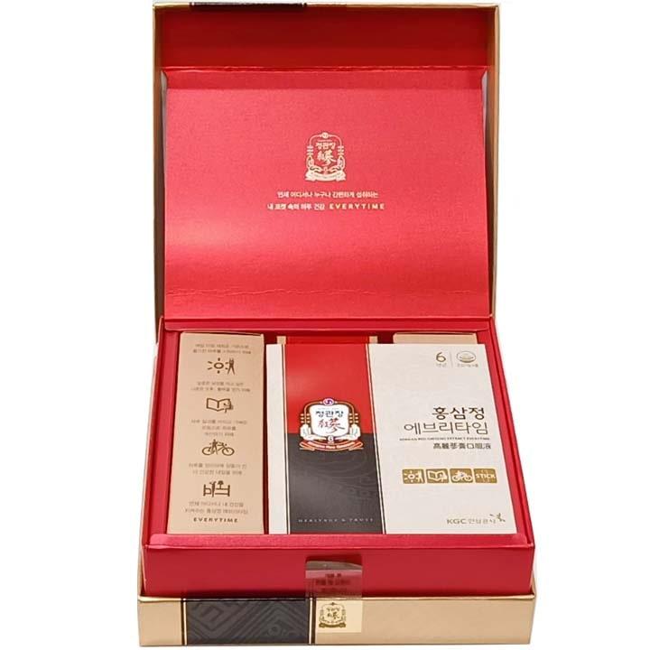 Bên trong hộp sản phẩm nước hồng sâm Hàn Quốc KGC 30 gói