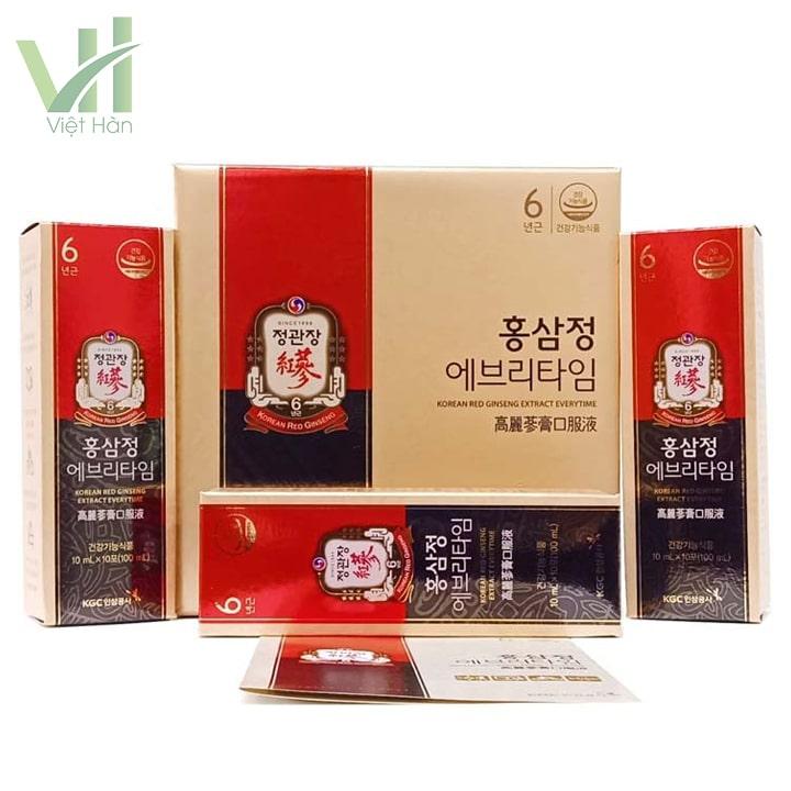 Bao quát hộp sản phẩm nước hồng sâm Hàn Quốc KGC 30 gói