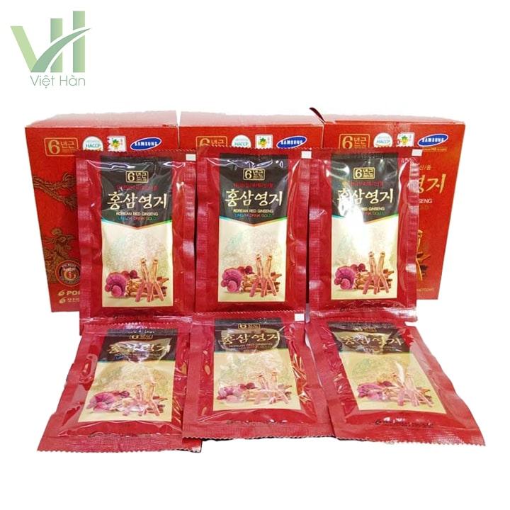 Bên trong sản phẩm nước hồng sâm linh chi Pocheon 70ml x 30 gói