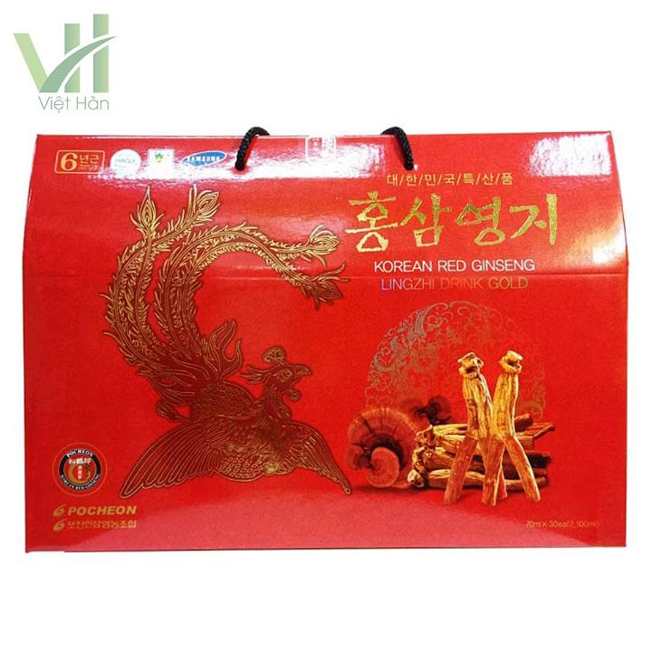 Mặt trước sản phẩm nước hồng sâm linh chi Pocheon 70ml x 30 gói