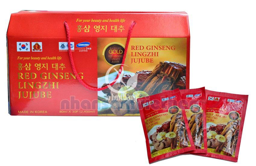 Hình ảnh chi tiết hộp Nước Hồng Sâm Linh Chi Táo Tàu Hàn Quốc