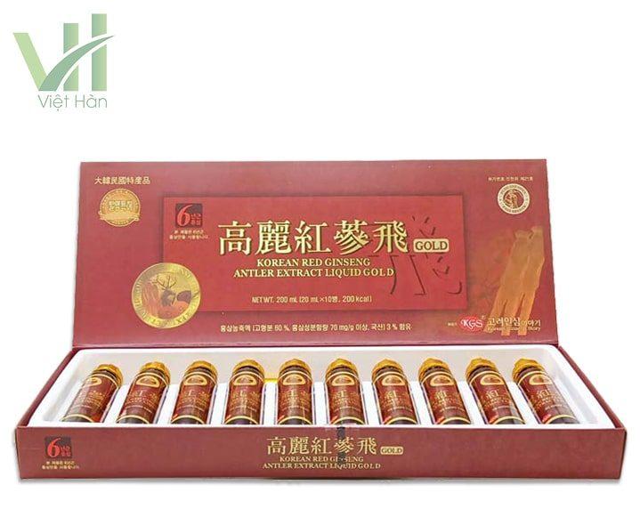 Mặt trước sản phẩm nước hồng sâm nhung hươu KGS 20ml X 10 ống