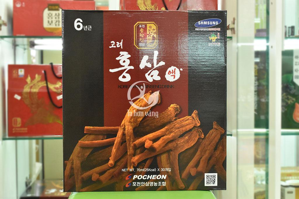 Hình ảnh mặt trước hộp Nước Hồng Sâm Thuốc Bắc Pocheon Hàn Quốc 70ml X 30 Gói
