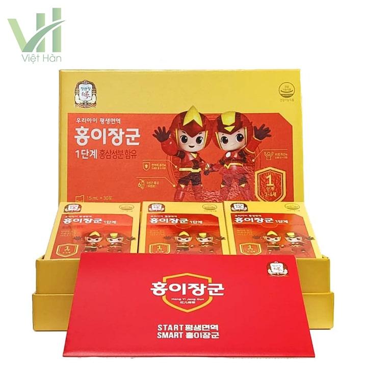 Bên trong sản phẩm nước hồng sâm trẻ em Cheong Kwang Jang KGC
