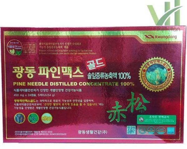 Mặt trước sản phẩm tinh dầu thông đỏ Kwangdong 120 viên Hàn Quốc
