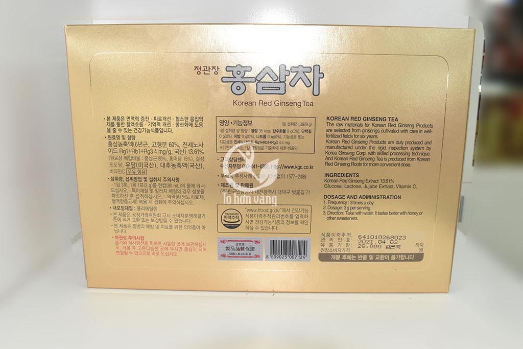 Hình ảnh mặt sau Trà Hồng Sâm Chính Phủ Hàn Quốc Cheong Kwan Chang - KGS 100 Gói