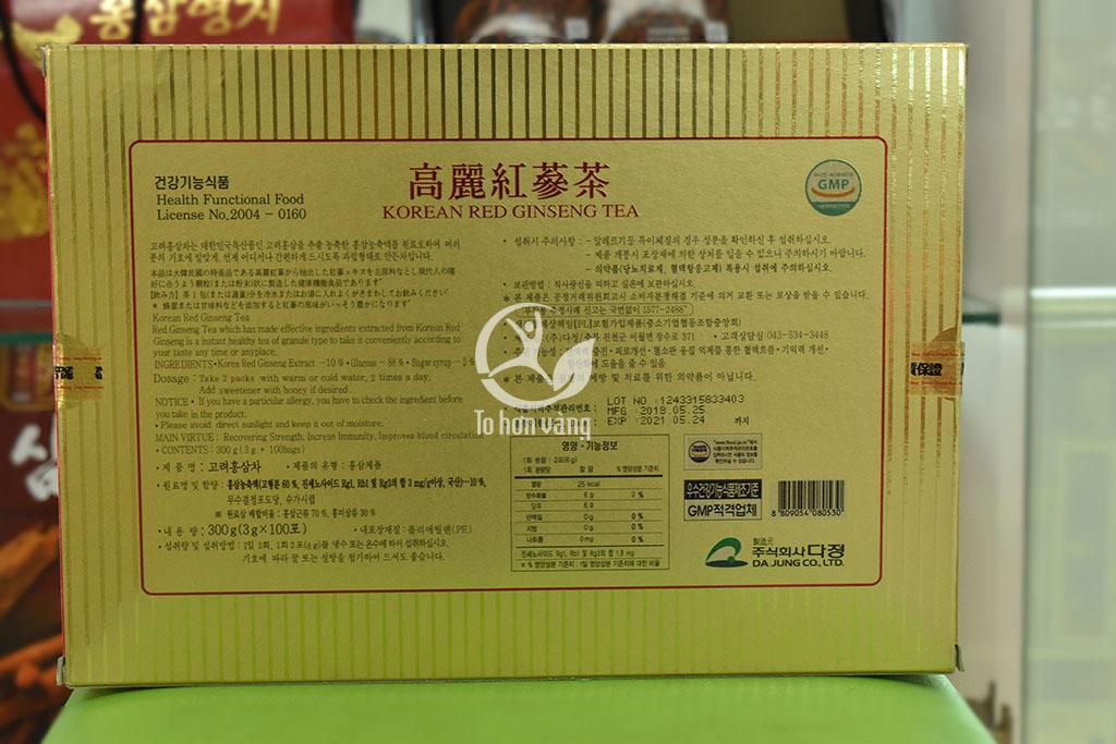 Hình ảnh mặt sau hộp Trà Hồng Sâm Hàn Quốc KGS 100g X 3 Gói