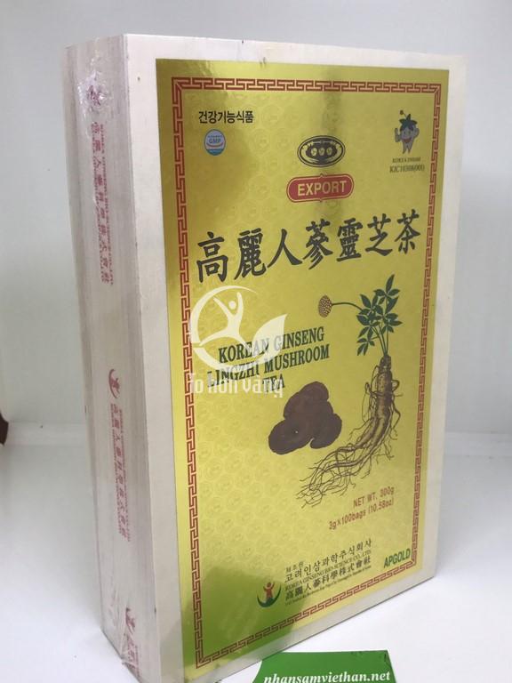 Hình ảnh thông tin hộp Trà Hồng Sâm Linh Chi 3g x 100 gói