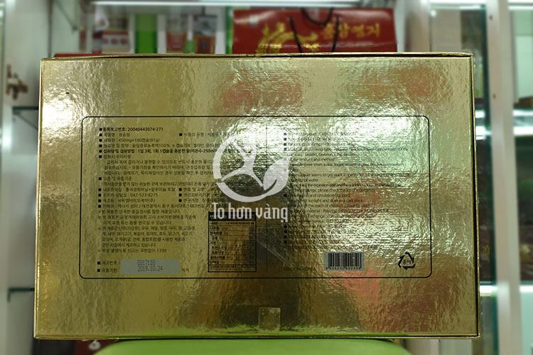 Hình ảnh mặt sau hộp viên tinh dầu thông đỏ Cheong Song Won 180 viên hộp đỏ Hàn Quốc