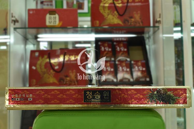 Hình ảnh tem hộp viên tinh dầu thông đỏ Cheong Song Won 180 viên hộp đỏ Hàn Quốc