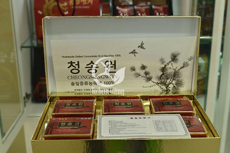 Hình ảnh chi tiết bên trong hộp viên tinh dầu thông đỏ Cheong Song Won 180 viên hộp đỏ Hàn Quốc