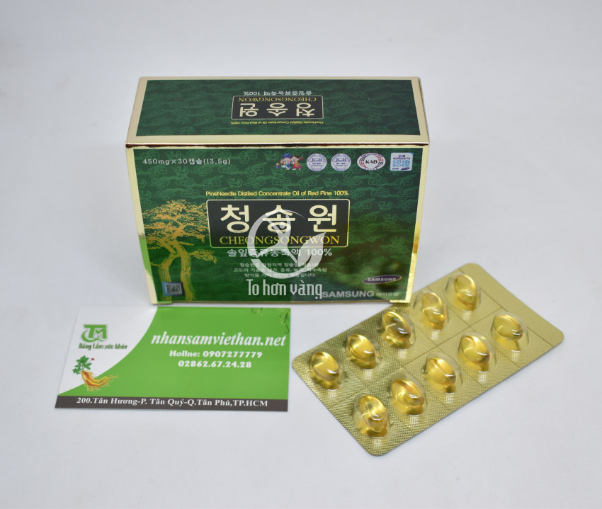 Hình ảnh chi tiết hộp viên tinh dầu thông đỏ Cheong Song Won 180 viên hộp xanh Hàn Quốc