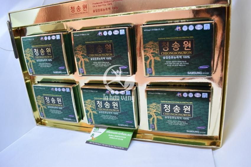 Hình ảnh bên trong hộp viên tinh dầu thông đỏ Cheong Song Won 180 viên hộp xanh Hàn Quốc
