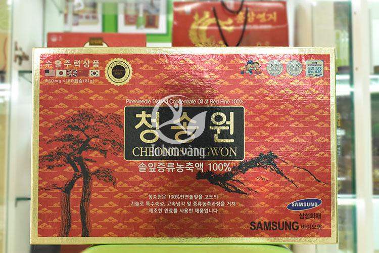 Hình ảnh hộp viên tinh dầu thông đỏ Cheong Song Won 180 viên hộp đỏ Hàn Quốc