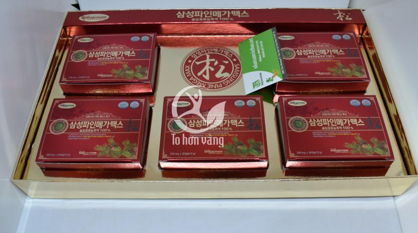 Hình ảnh hộp bên trong viên tinh dầu thông đỏ Samsung Pine Mega Max 120 viên Hàn Quốc