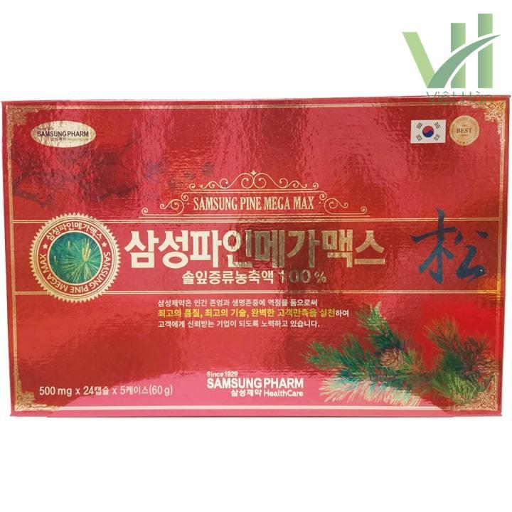 Mặt trước sản phẩm viên tinh dầu thông đỏ Samsung Pine Mega Max 120 viên Hàn Quốc