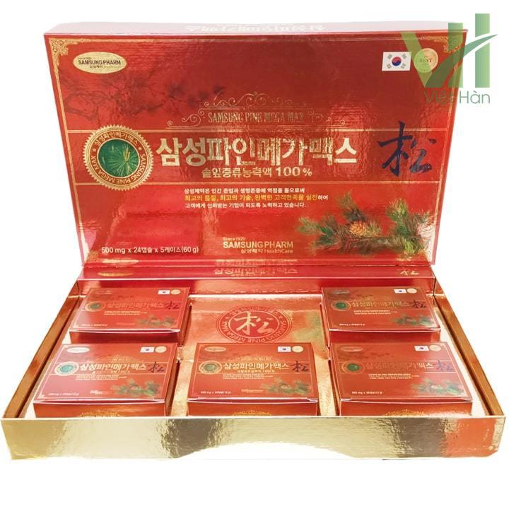 Sản phẩm viên tinh dầu thông đỏ Samsung Pine Mega Max 120 viên Hàn Quốc