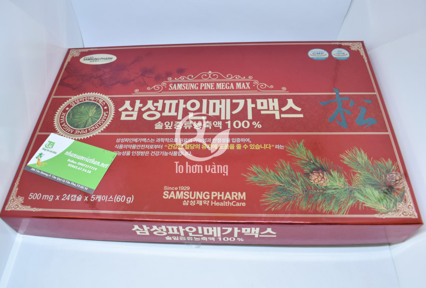 Hình ảnh hộp viên tinh dầu thông đỏ Samsung Pine Mega Max 120 viên Hàn Quốc