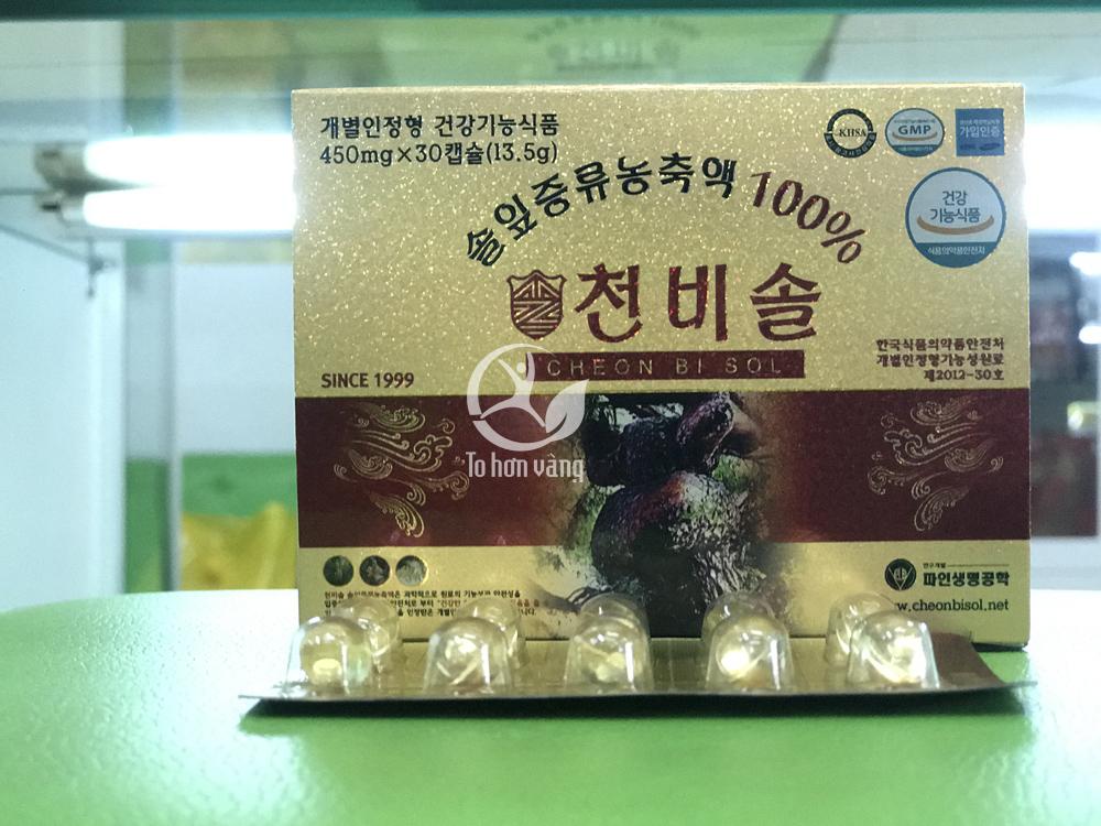 Tinh dầu thông đỏ Cheon Bi Sol cao cấp 180 viên được đóng gói ở dạng viên nén con nhộng cao cấp mỗi hộp chứa 180