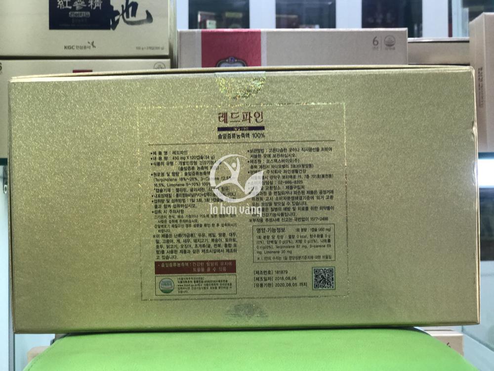 Mặt sau tinh dầu thông đỏ Hàn Quốc Dami Han Sol cao cấp chính phủ 120 Viên