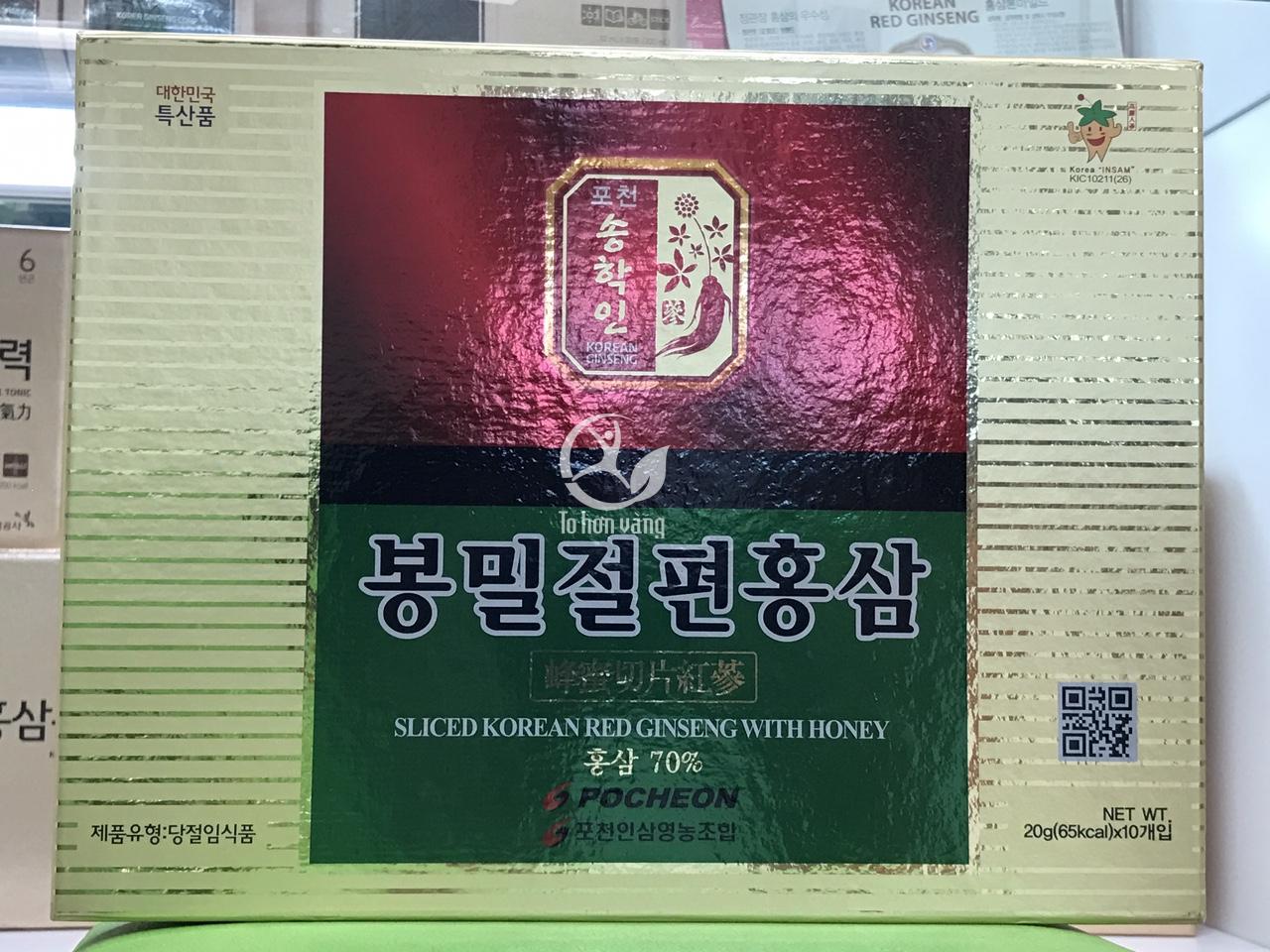 Hình ảnh mặt trước hộp Hồng sâm thái lát tẩm mật ong 200g Pocheon