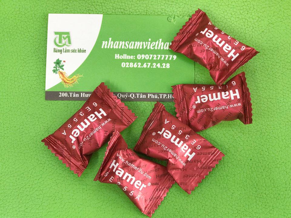 Kẹo sâm Hamer được sản xuất thành từng viên nhỏ tiện dụng